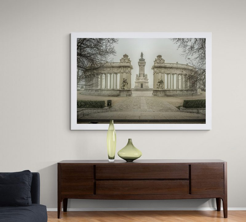 Parque del Retiro con niebla, Monumento a Alfonso XII por Adolfo Gosálvez. Venta de Fotografía de autor en edición limitada. AG Shop