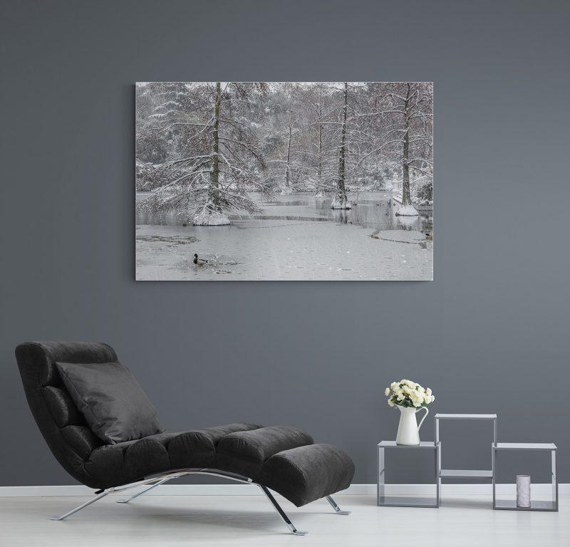 Filomena. Madrid Nevado. Lago Palacio de Cristal en el Parque del Retiro por Adolfo Gosálvez. Venta de Fotografía de autor en edición limitada. AG Shop