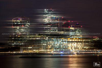 Vista nocturna Distrito Financiero de Londres por Adolfo Gosálvez. Venta de Fotografía de autor en edición limitada. AG Shop