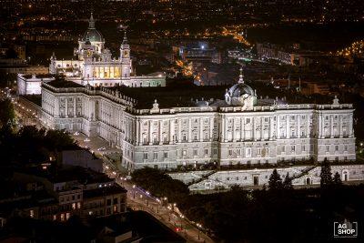 Vista Aérea del Palacio Real por la noche en Madrid, por Adolfo Gosálvez. Venta de Fotografía de autor en edición limitada. AG Shop