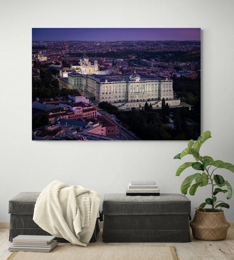 Vista Aérea Palacio Real nocturna, Madrid por Adolfo Gosálvez. Venta de Fotografía de autor en edición limitada. AG Shop