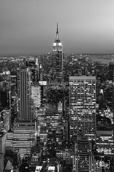 Vista de Nueva York desde el Top of the Rock, blanco y negro, por Adolfo Gosálvez. Venta de Fotografía de autor en edición limitada. AG Shop