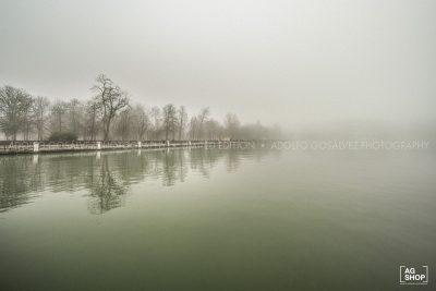 Retiro con niebla. Estanque por Adolfo Gosálvez. Venta de Fotografía de autor en edición limitada. AG Shop