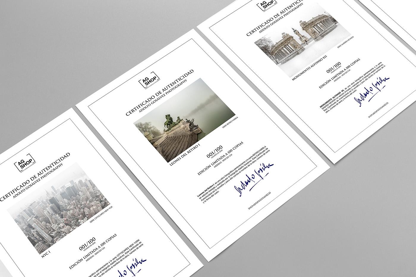 Certificado de autenticidad fotografías firmadas por el fotógrafo Adolfo Gosálvez. Venta de Fotografía de autor en edición limitada. AG Shop